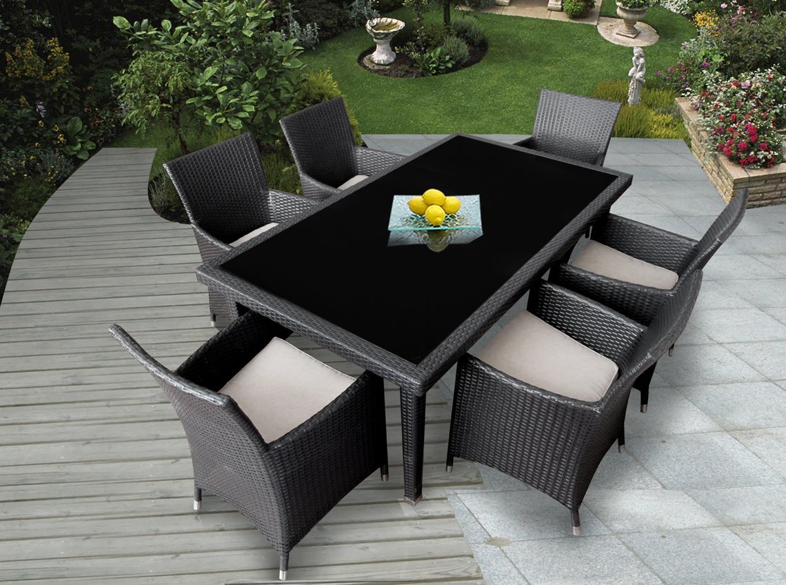 Genuine Ohana Outdoor Patio Wicker Furniture 7pc All Weather Dining Set Review Best Patio