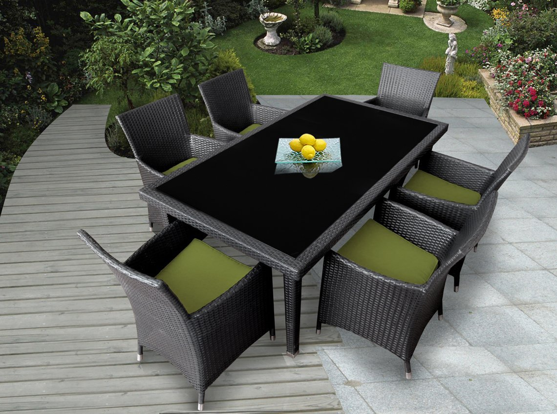 Genuine ohana outdoor patio wicker furniture 7pc all for Best deals on patio furniture sets