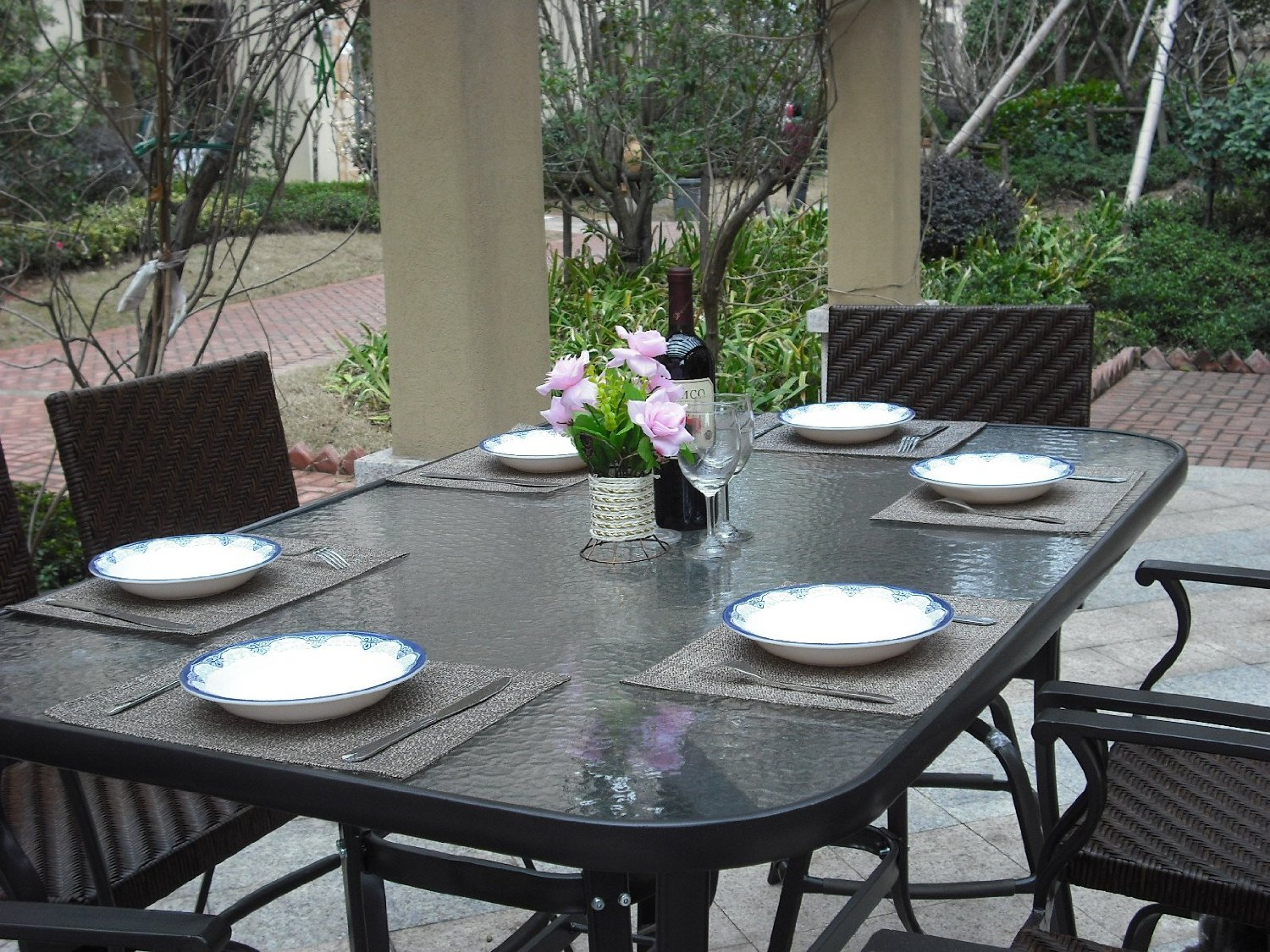 Pebble Lane Living 7 Piece Handwoven Outdoor Wicker Patio Bar Dining Set