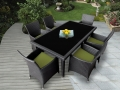 Genuine Ohana Outdoor Patio Wicker Furniture 7pc All Weather Dining Set 6