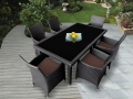 Genuine Ohana Outdoor Patio Wicker Furniture 7pc All Weather Dining Set 7