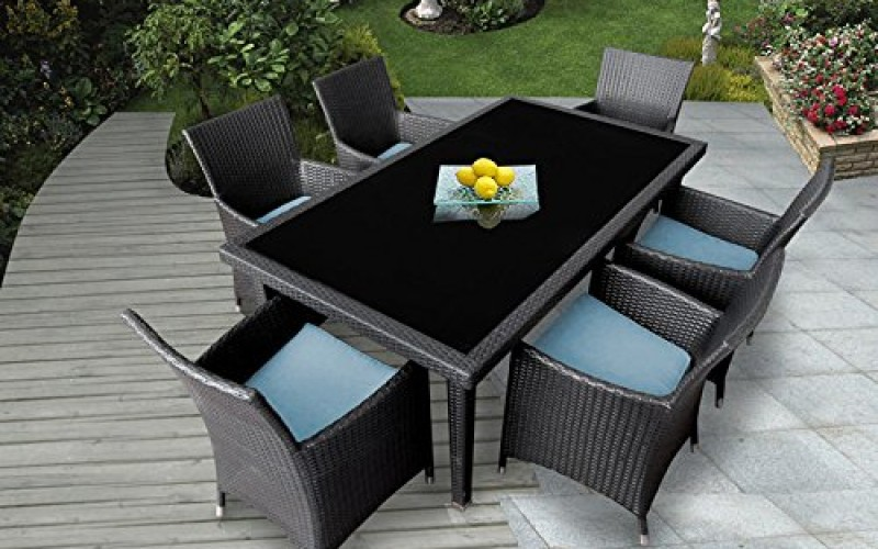Genuine Ohana Outdoor Patio Wicker Furniture 7pc All Weather Dining Set  Review
