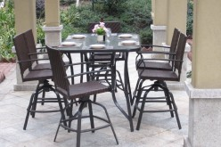 Pebble Lane Living 7-Piece Handwoven Outdoor Wicker Patio Bar Dining Set Review