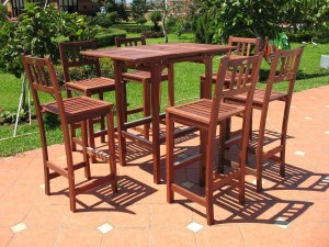 Pebble Lane Living 7-Piece Outdoor Premium Wood Patio Bar Dining Set