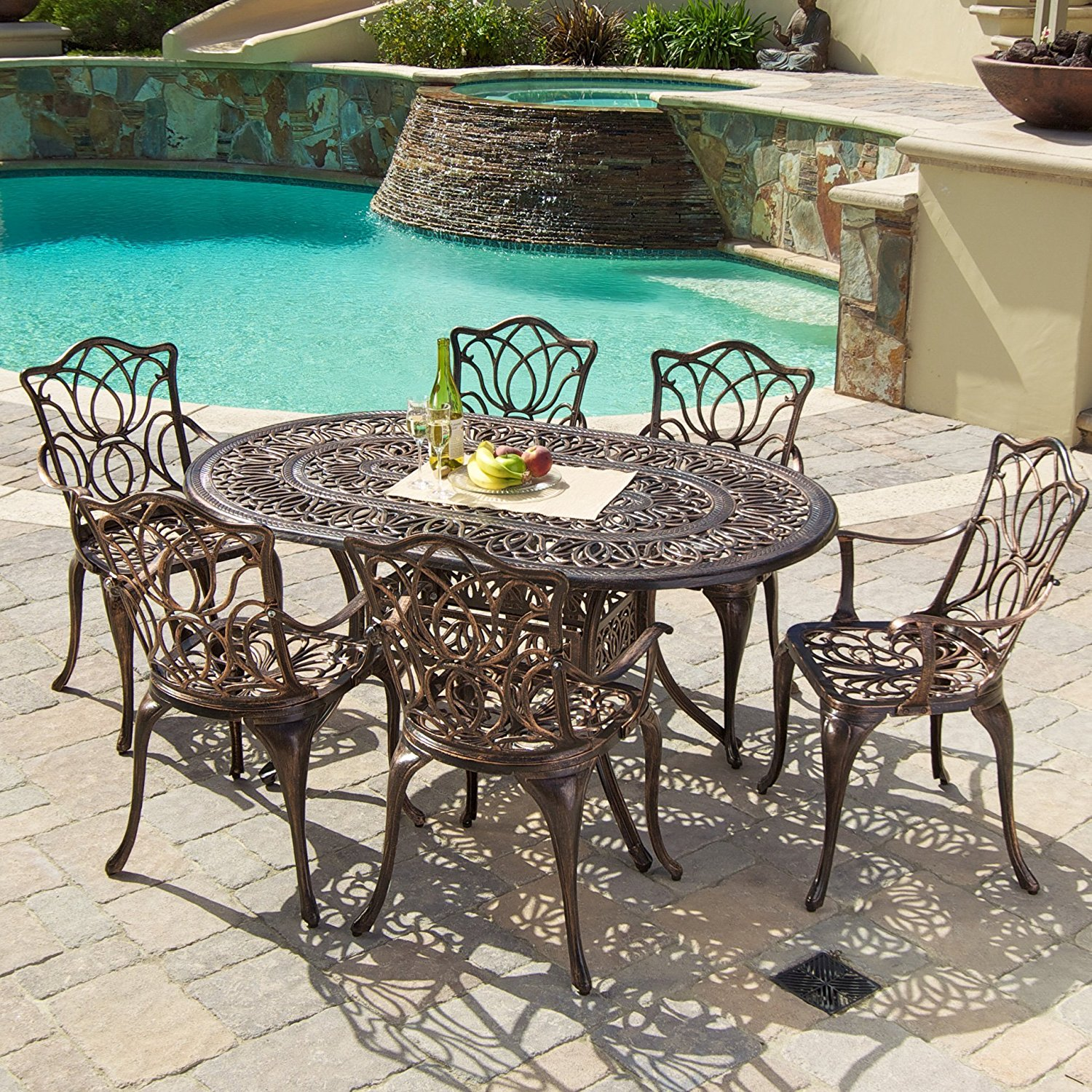 Gardena Cast Aluminum Outdoor Dining Set (Set Of 7) Review | Best Patio  Dining Sets